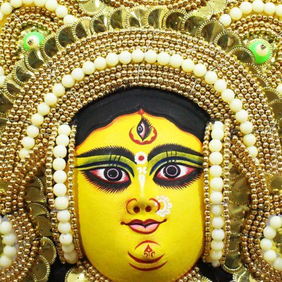 Golden Devi Chhau Mask - Tharkozi Design - (1Ft) - GI TAGGED (2)
