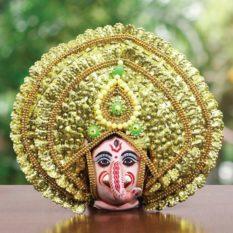 Golden Ganehsa Chhau Mask Online - Leaf Design (1Ft) (1)