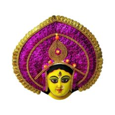 Golden-Pink Devi Chhau Mask - Leaf Design (1Ft) 1