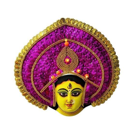 Golden-Pink Devi Chhau Mask - Leaf Design (1Ft) 1