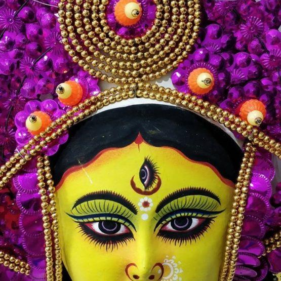 Golden-Pink Devi Chhau Mask - Leaf Design (1Ft) 2