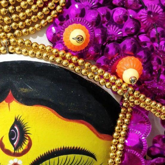 Golden-Pink Devi Chhau Mask - Leaf Design (1Ft) 3