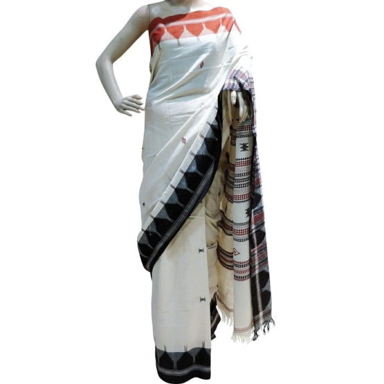 Kotpad Off-White Cotton Saree With Blouse 1
