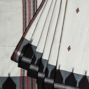 Kotpad Off-White Cotton Saree With Blouse 2