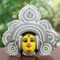 Silver Devi Chhau Mask Feather Design Online (2Ft) (1)