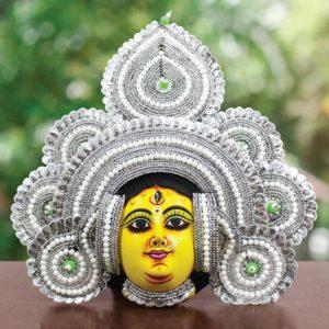 Silver Devi Chhau Mask Feather Design Online (2Ft) (1)
