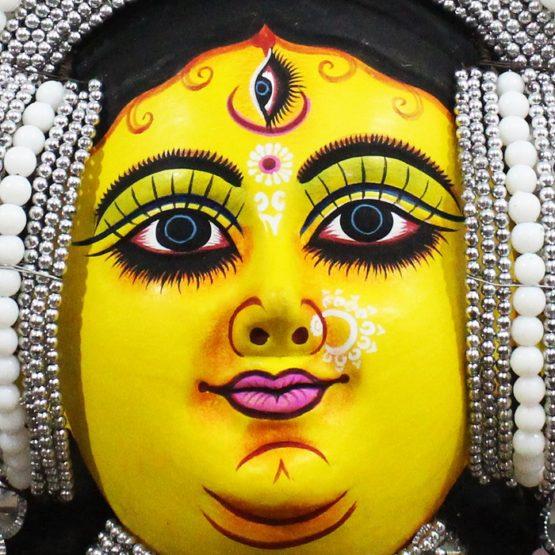 Silver Devi Chhau Mask Feather Design Online (2Ft) (3)