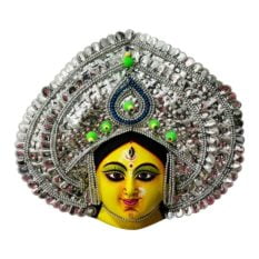 Silver Devi Chhau Mask - Leaf Design (2Ft) 1