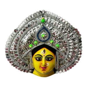 Silver Devi Chhau Mask - Leaf Design (2Ft) 1