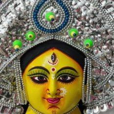 Silver Devi Chhau Mask - Leaf Design (2Ft) 2