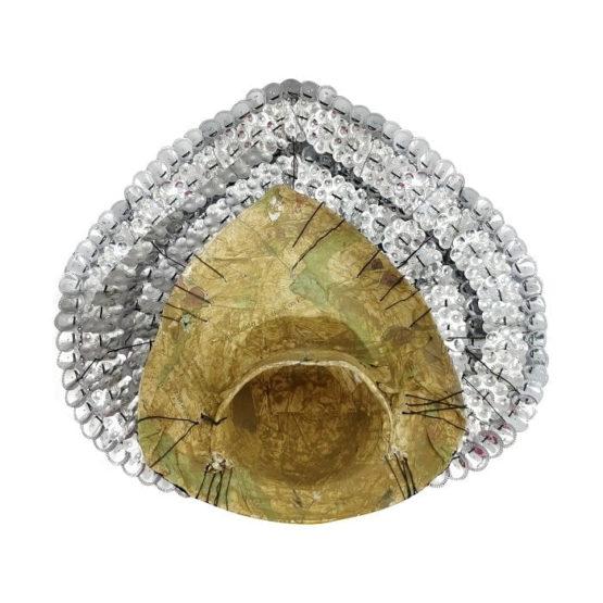 Silver Devi Chhau Mask - Leaf Design (2Ft) 4