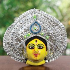 Silver Devi Chhau Mask - Leaf Design (1Ft) - Gi Tagged (1)