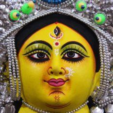 Silver Devi Chhau Mask - Leaf Design (1Ft) - Gi Tagged (2)