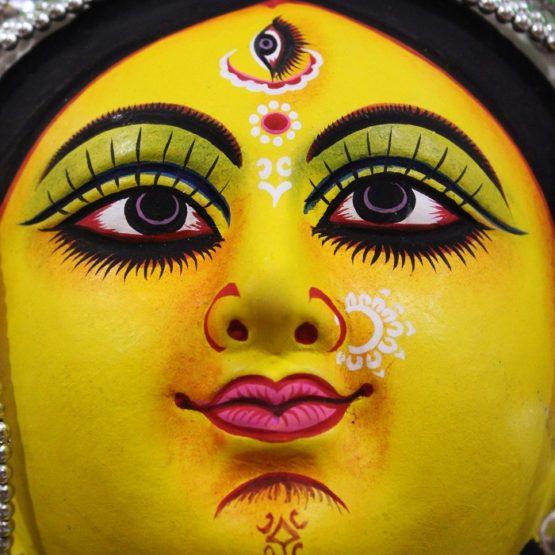 Silver Devi Chhau Mask - Leaf Design (1Ft) - Gi Tagged (3)