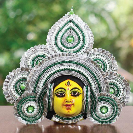 Silver-Green Devi Chhau Mask Feather Design (2Ft) - GI TAGGED (1)