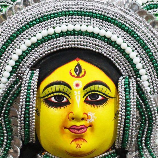 Silver-Green Devi Chhau Mask Feather Design (2Ft) - GI TAGGED (2)