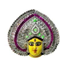 Silver-Pink Devi Chau Mask - Leaf Design (1 Ft) 1