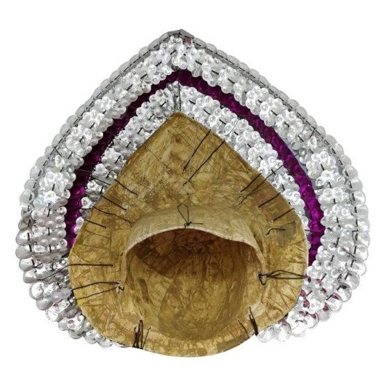 Silver-Pink Devi Chhau Mask - Leaf Design (1Ft) 4