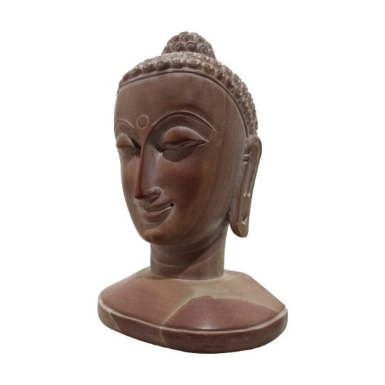 GiTAGGED Konark Stone Carving Buddha Face Sculpture 4 Inch 2