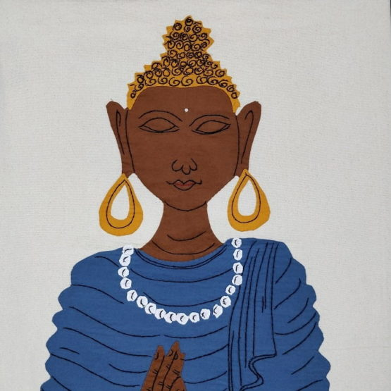GiTAGGED Pipli Applique Buddha Blue Wall Hanging 2