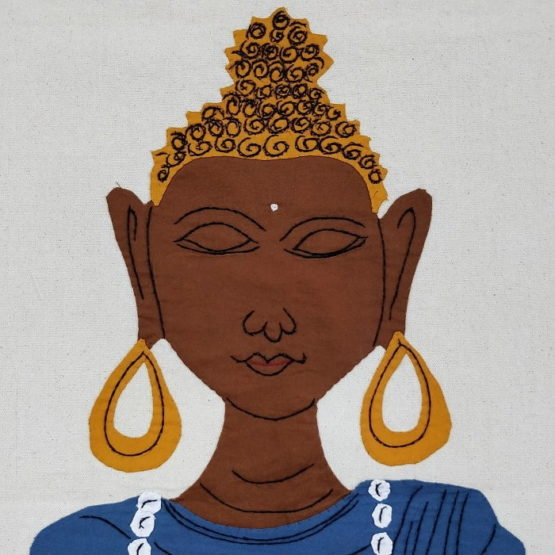 GiTAGGED Pipli Applique Buddha Blue Wall Hanging 3