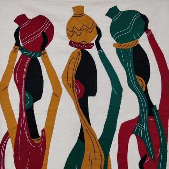 GiTAGGED Pipli Applique Tribal Women Carrying Pot Multicolor Wall Hanging 2