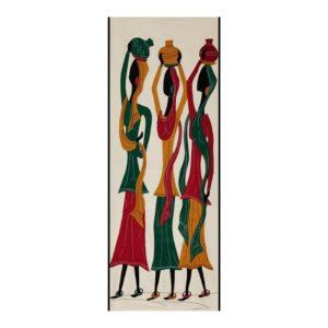 GiTAGGED Pipli Applique Tribal Women Carrying Pot Wall Hanging 1