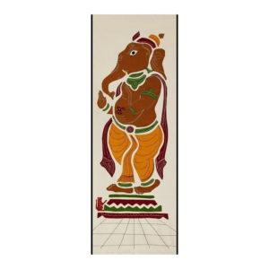GiTAGGED Pipli Applique Work Dijon-Yellow Ganesha Wall Hanging 1