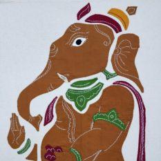 GiTAGGED Pipli Applique Work Dijon-Yellow Ganesha Wall Hanging 2