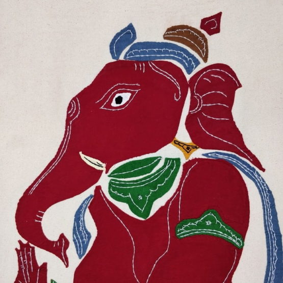 GiTAGGED Pipli Applique Work Maroon-Dijon Ganesha Wall Hanging 2