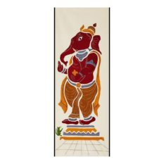 GiTAGGED Pipli Applique Work Maroon-Yellow Ganesha Wall Hanging 1