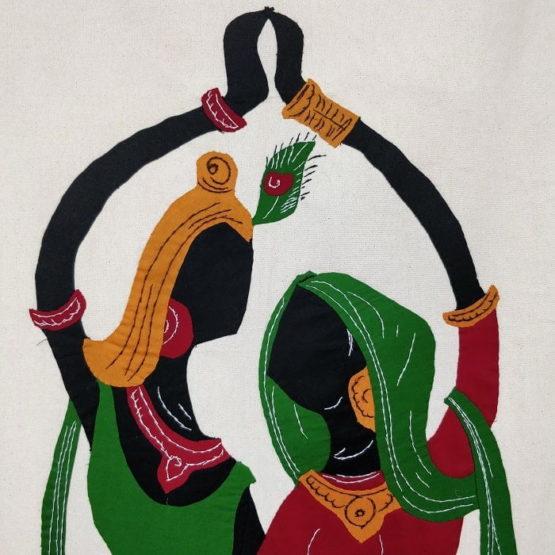 GiTAGGED Pipli Applique Work Radha-Krishna Dance Multicolor Wall Hanging 2