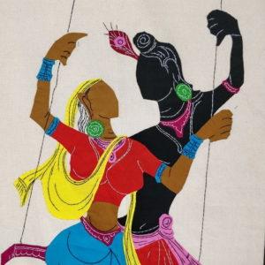 GiTAGGED Pipli Applique Work Radha-Krishna on Swing Blue-Red Wall Hanging 2