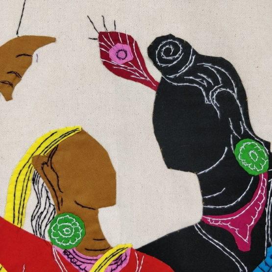 GiTAGGED Pipli Applique Work Radha-Krishna on Swing Blue-Red Wall Hanging 3