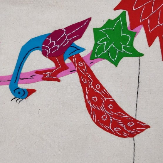 GiTAGGED Pipli Applique Work Radha-Krishna on Swing Blue-Red Wall Hanging 4