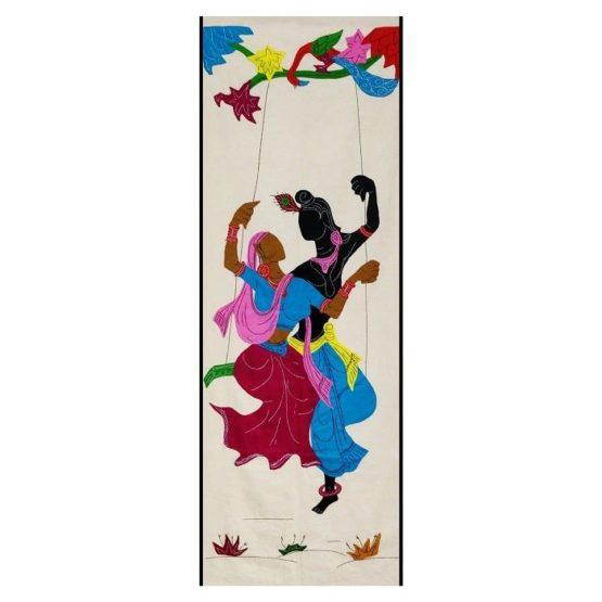 GiTAGGED Pipli Applique Work Radha-Krishna on Swing Maroon-Blue Wall Hanging 1