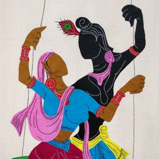 GiTAGGED Pipli Applique Work Radha-Krishna on Swing Maroon-Blue Wall Hanging 2