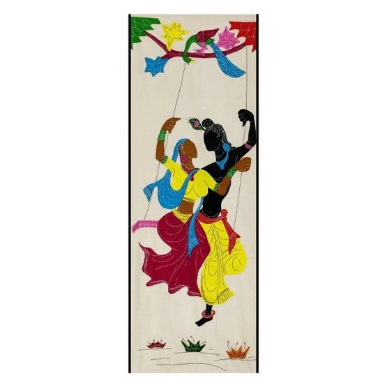 GiTAGGED Pipli Applique Work Radha-Krishna on Swing Maroon-Yellow Wall Hanging 1
