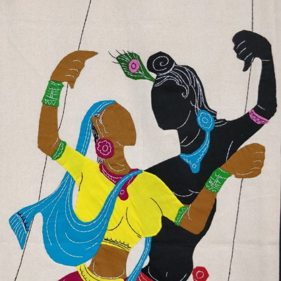 GiTAGGED Pipli Applique Work Radha-Krishna on Swing Maroon-Yellow Wall Hanging 2