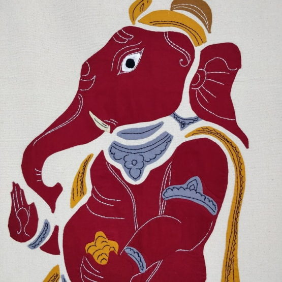 GiTAGGED Pipli Applique Work Red Ganesha Wall Hanging 2