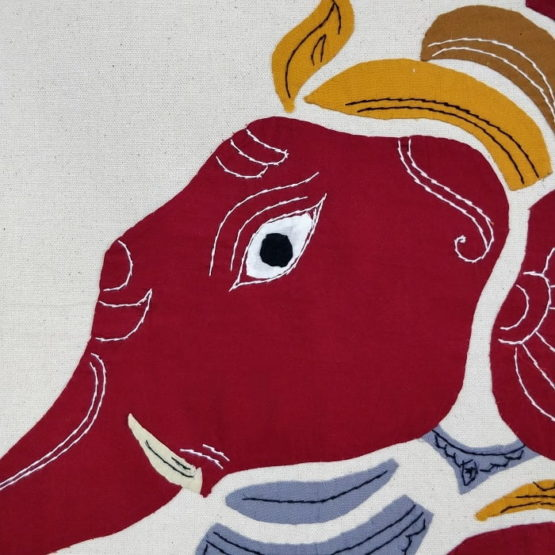 GiTAGGED Pipli Applique Work Red Ganesha Wall Hanging 4
