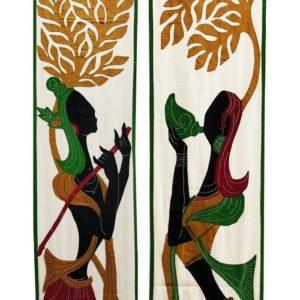 GiTAGGED Pipli Applique Green-Maroon Radha-Krishna Wall Hanging Combo (6.9x1) feet 2