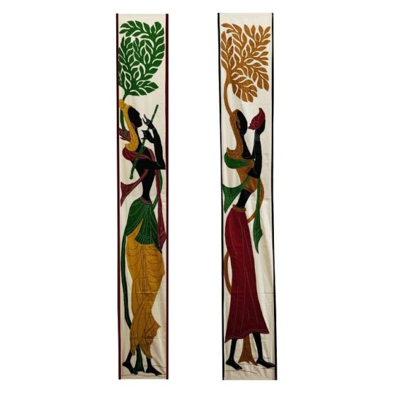 GiTAGGED Pipli Applique Yellow-Maroon Radha-Krishna Wall Hanging Combo (6.9x1) feet 1