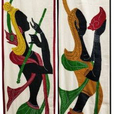 GiTAGGED Pipli Applique Yellow-Maroon Radha-Krishna Wall Hanging Combo (6.9x1) feet 2