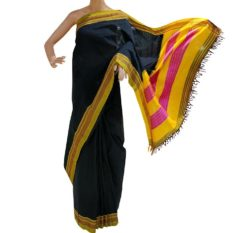 GiTAGGED Ilkal Black Cotton-Silk Saree With Mustard Border 1