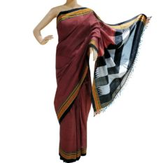 GiTAGGED Ilkal Brick Brown Cotton-Silk Saree With Black Border 1