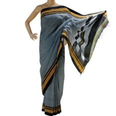 GiTAGGED Ilkal Dark Gray Cotton-Silk Saree With Black Border 1