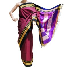 GiTAGGED Ilkal Maroon Cotton-Silk Saree With Black Border 1