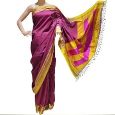 GiTAGGED Ilkal Maroon Cotton-Silk Saree With Golden Border 1