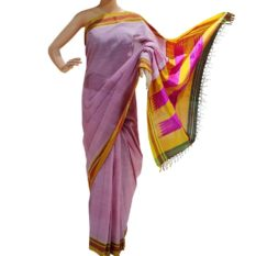 GiTAGGED Ilkal Pink Cotton-Silk Saree With Mustard Border 1